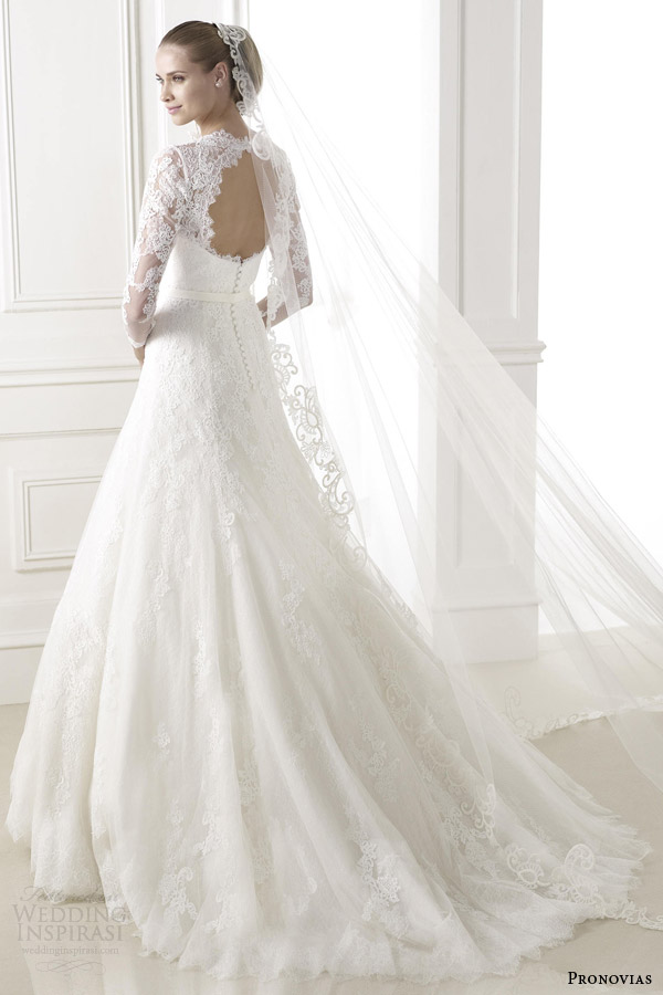 pronovias wedding dresses pre 2015 bridal basico long lace sleeve gown keyhole back