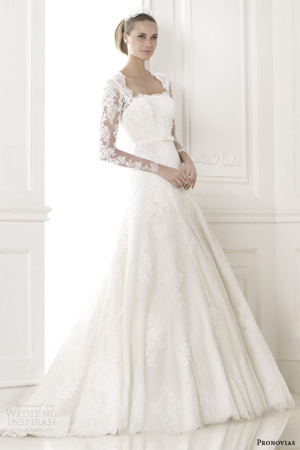 pronovias wedding dresses pre 2015 bridal basico long lace sleeve gown