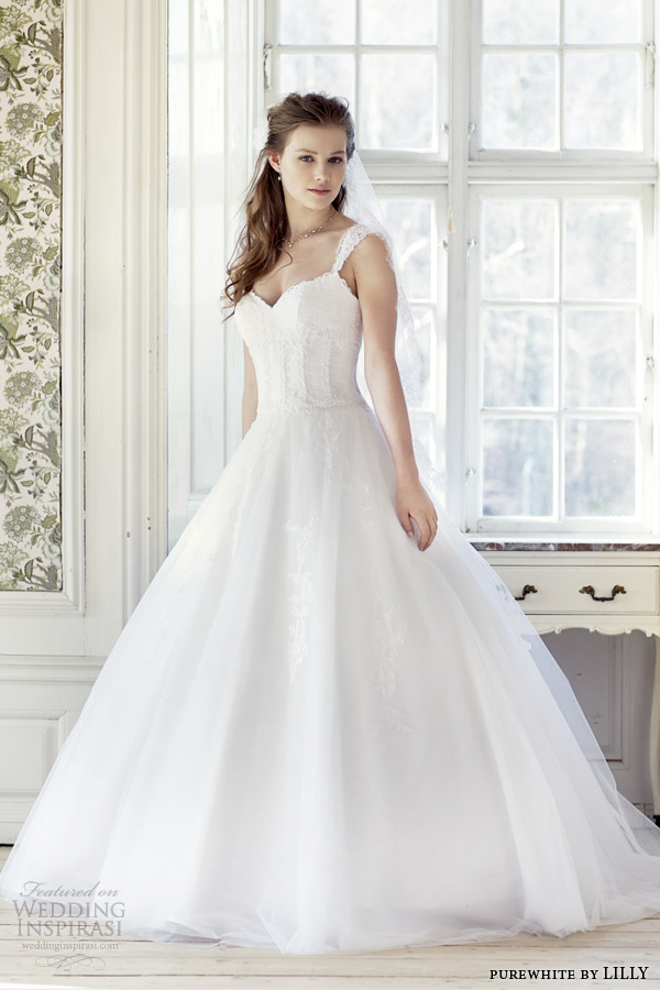 purewhite by lilly 2014 2015 wedding dress with lace cap sleeves style 08 3223 wh full view