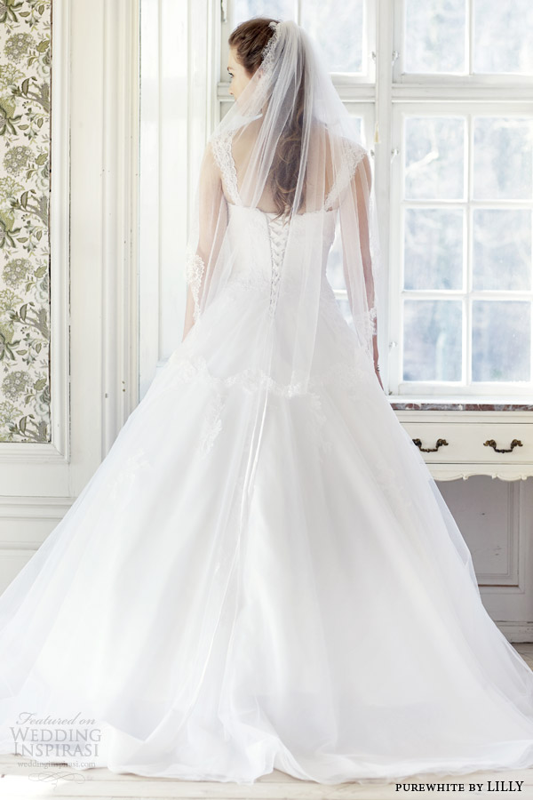 purewhite by lilly 2014 2015 wedding dress with lace cap sleeves style 08 3223 wh lace up corset back view