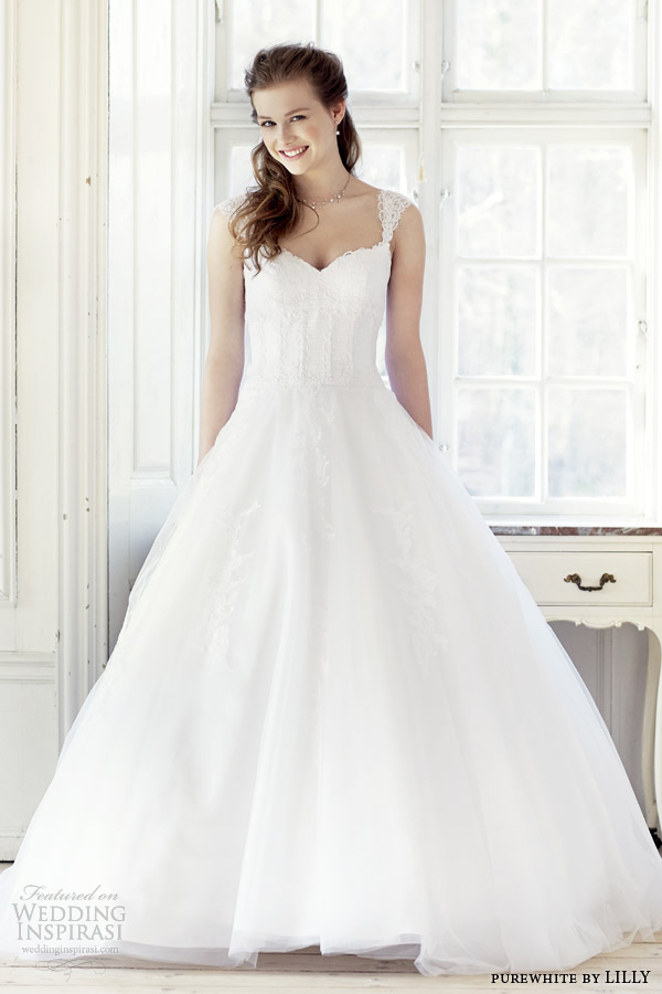 purewhite by lilly 2014 2015 wedding dress with lace cap sleeves style 08 3223 wh