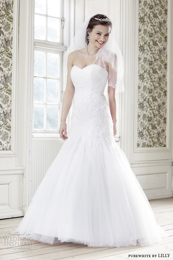 purewhite by lilly bridal 2014 strapless wedding dress style 08 3207 wh