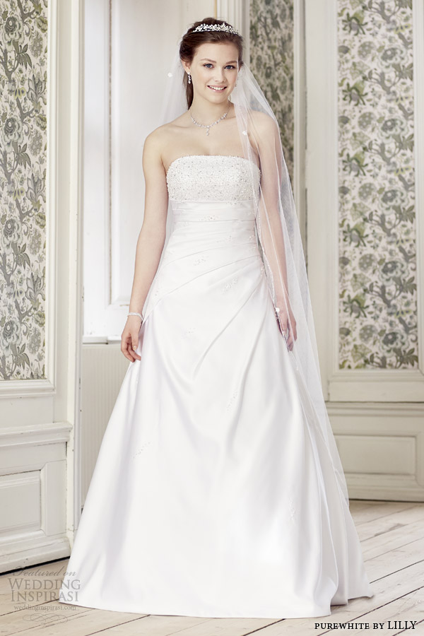 purewhite by lilly wedding dresses 2014 strapless gown style 08 3211 wh