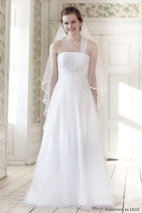 purewhite by lilly wedding dresses 2014 strapless wedding dress style 08 3219 wh