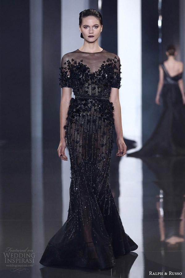 ralph and russo autumn 2014 2015 couture look 32 short sleeve black sheath gown