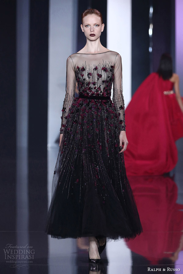 ralph and russo autumn winter 2014 2015 couture look 25 illusion neckline long sleeve dress