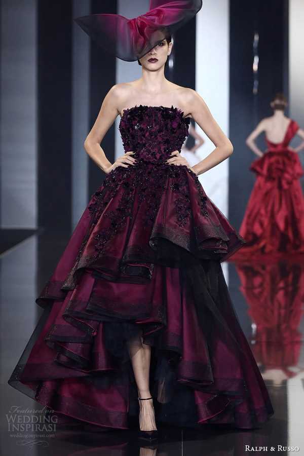 ralph and russo autumn winter 2014 2015 couture look 26 strapless deep red gown layered skirt