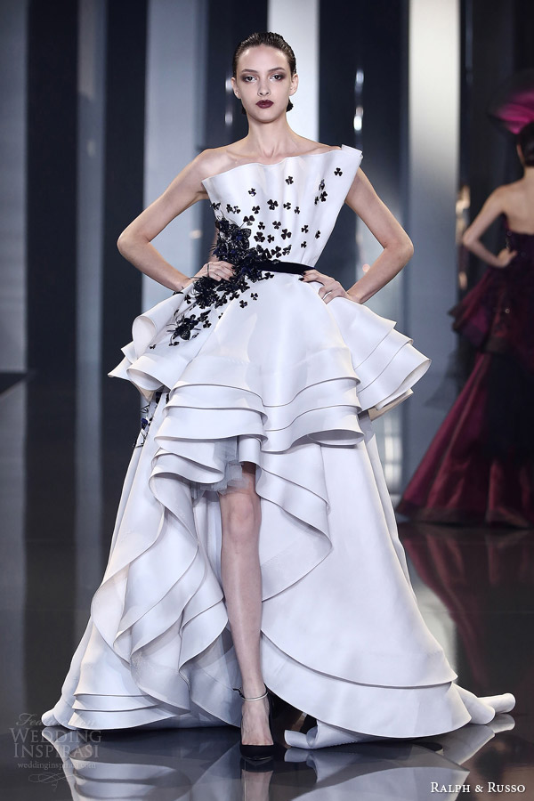 ralph and russo autumn winter 2014 2015 couture look 27 black and white origami fold dress