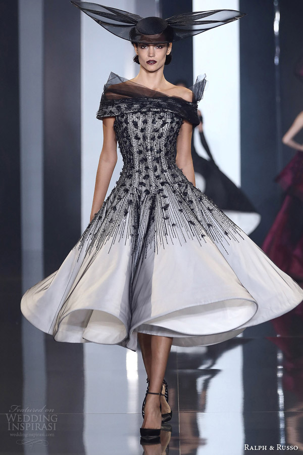 ralph and russo autumn winter 2014 2015 couture look 28 black and white dress