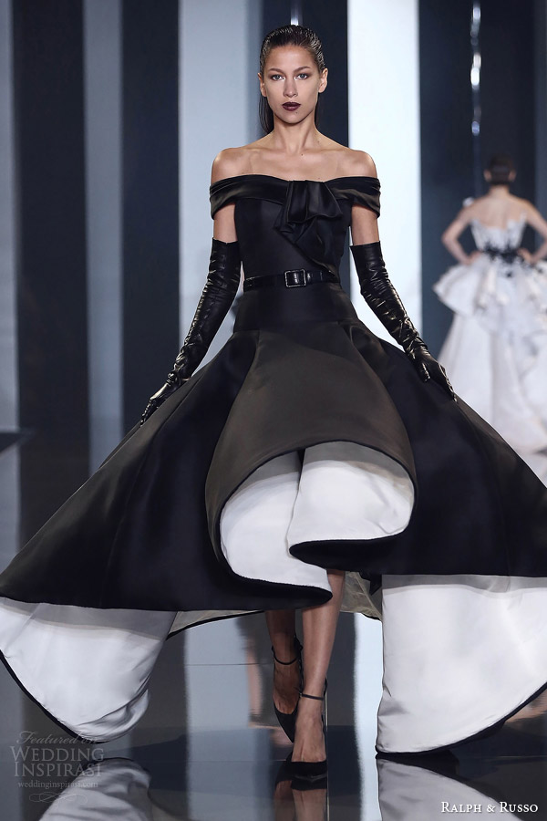 ralph and russo couture autumn 2014 2015 look 29 off the shoulder black and white dress