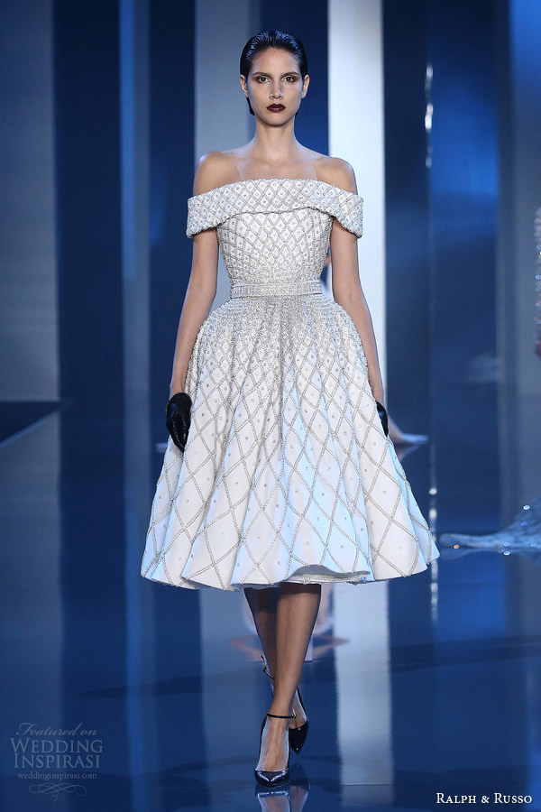 ralph and russo couture fall 2014 2015 look 5 embellished white dress off shoulder sleeves
