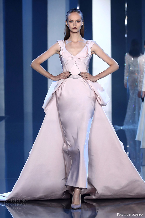 ralph and russo couture fall 2014 2015 look 7 pale pink gown over skirt train