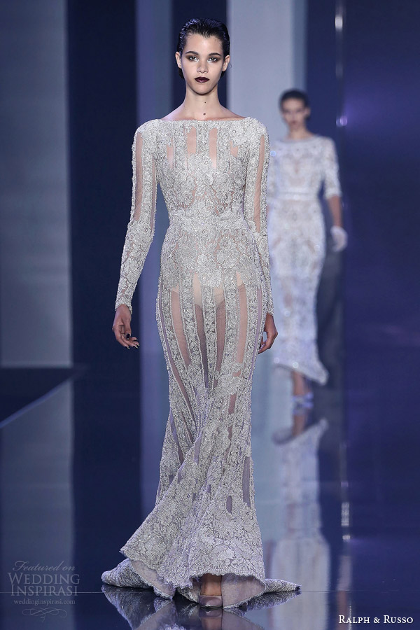 ralph and russo couture fall winter 2014 2015 look 10 embellished long sleeve sheath gown