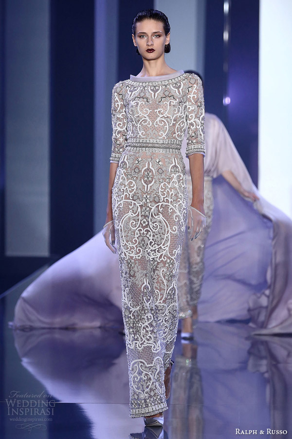 ralph and russo couture fall winter 2014 2015 look 11 embellished gown half sleeves
