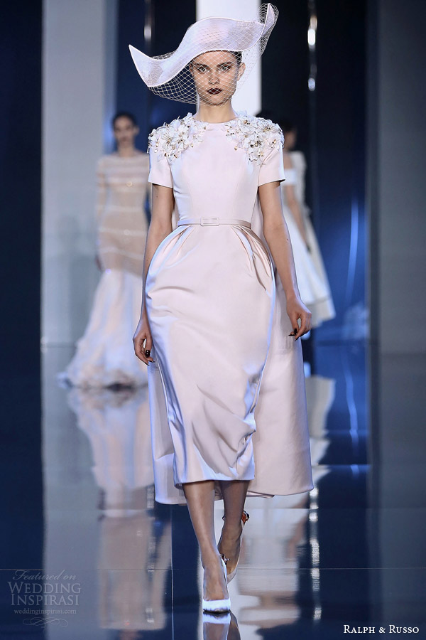 ralph and russo couture fall winter 2014 2015 look 8 pale pink short sleeve dress