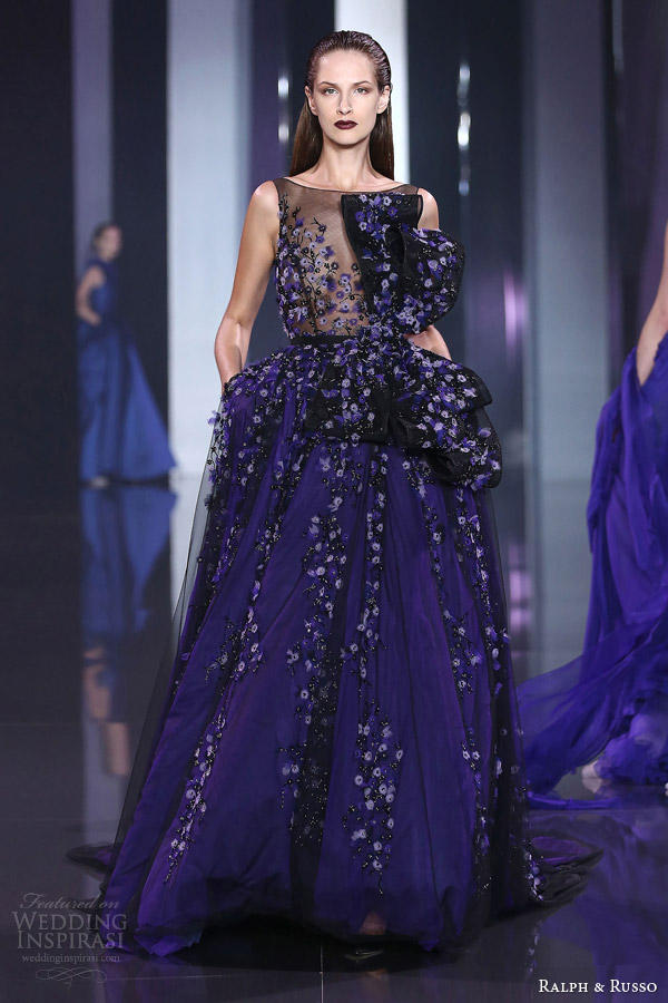 ralph and russo fall 2014 2015 haute couture look 19 sleeveless floral dress blue