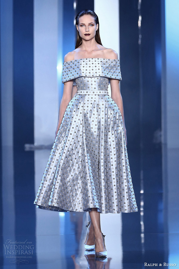 ralph and russo fall winter 2014 2015 couture look 1 tea length dress
