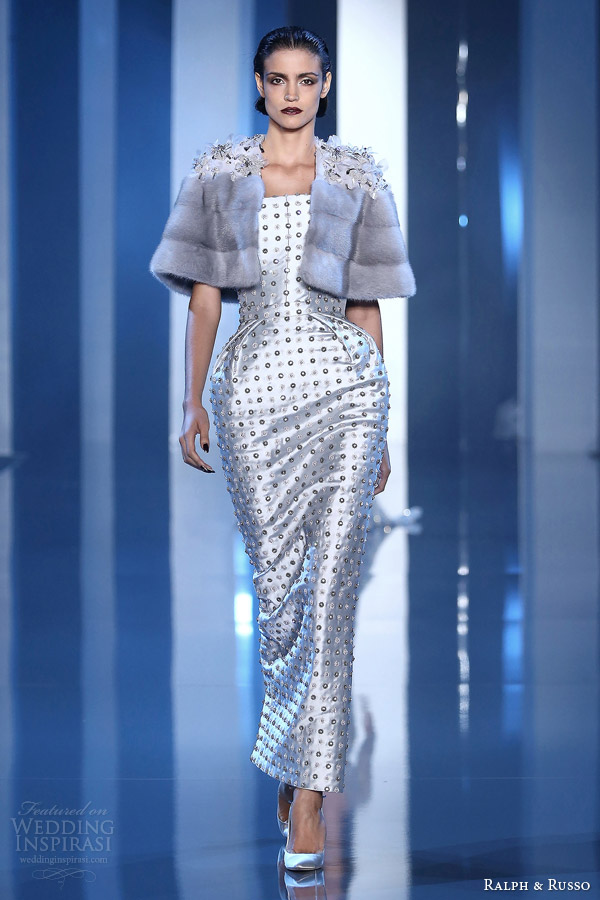 ralph and russo fall winter 2014 2015 couture look 2 nipped waist dress jacket