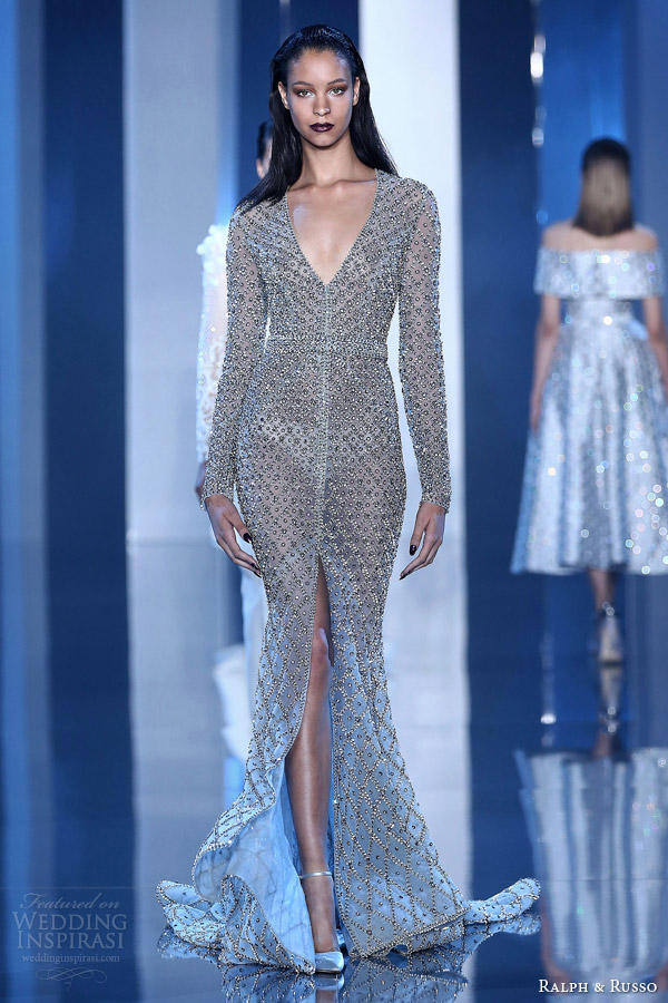 ralph and russo fall winter 2014 2015 couture look 3 embellished metallic sheath gown