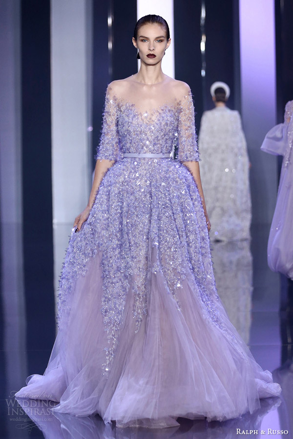 ralph and russo haute couture fall 2014 2015 look 15 lavender lilac gown with sleeves