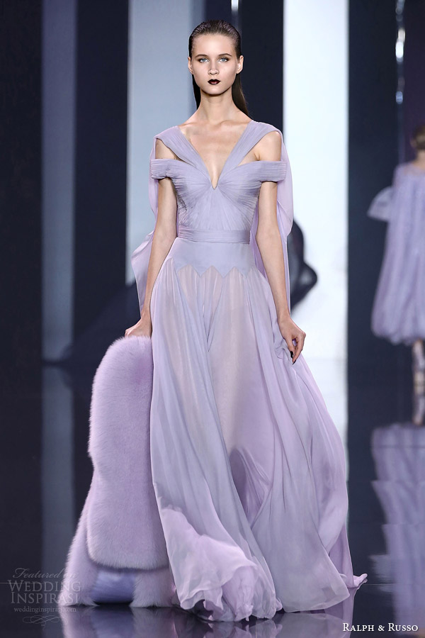 ralph and russo haute couture fall 2014 2015 look 16 lavender lilac gown draped bodice