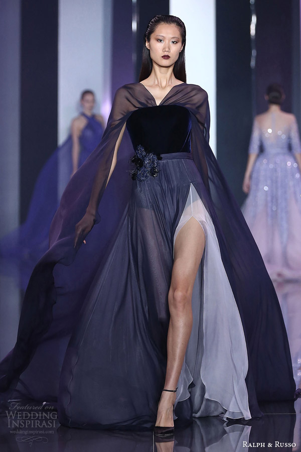 ralph and russo haute couture fall 2014 2015 look 17 dress shades of blue navy