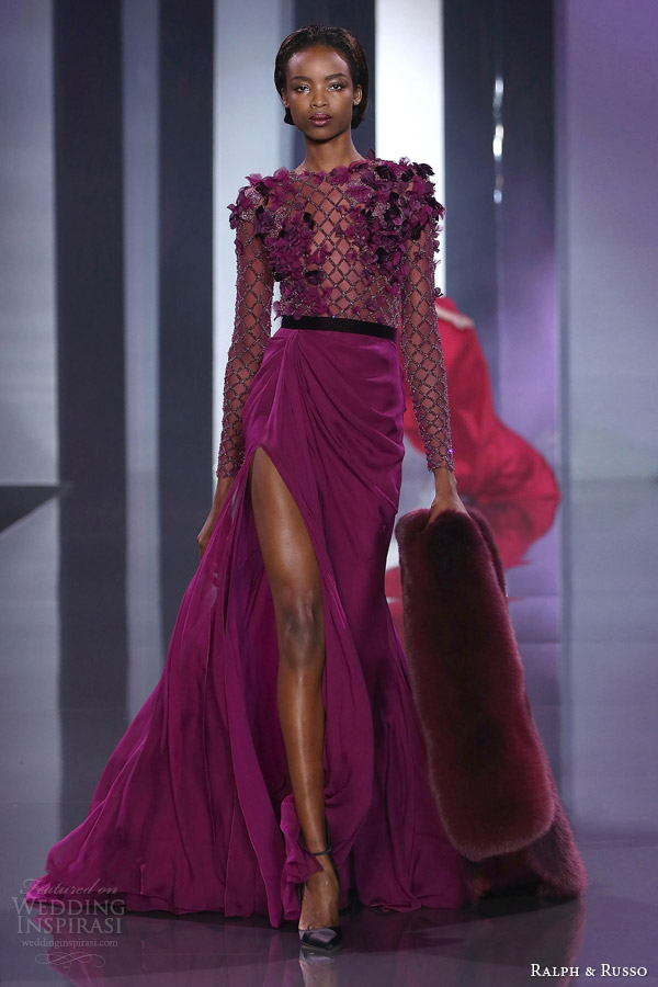 ralph and russo haute couture fall 2014 2015 look 22 long sleeve gown lattice embellished bodice