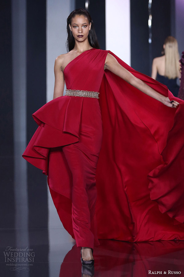 ralph and russo haute couture fall 2014 2015 look 23 one shoulder red gown cape
