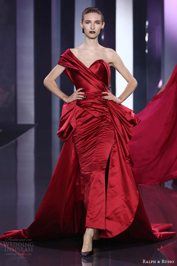 ralph and russo haute couture fall 2014 2015 look 24 one shoulder red draped gown
