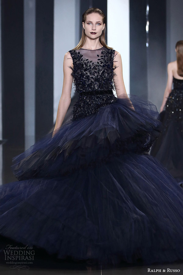 ralph russo fall winter couture 2014 2015 look 34 sleeveless dark blue dress