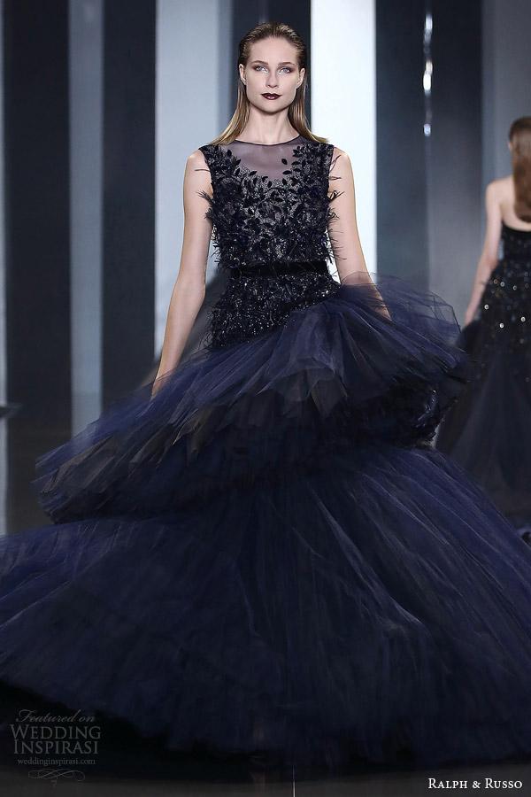 ralph russo fall winter couture 2014 2015 look 34 sleeveless dark blue dress