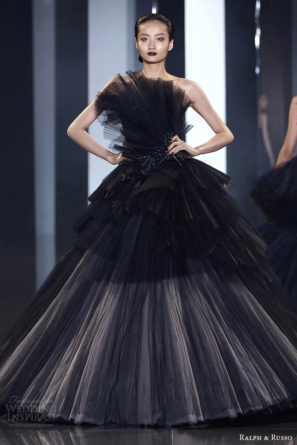 ralph russo fall winter couture 2014 2015 look 35 black beige evening dress