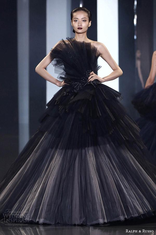 ralph russo fall winter couture 2014 2015 look 35 black beige evening dress
