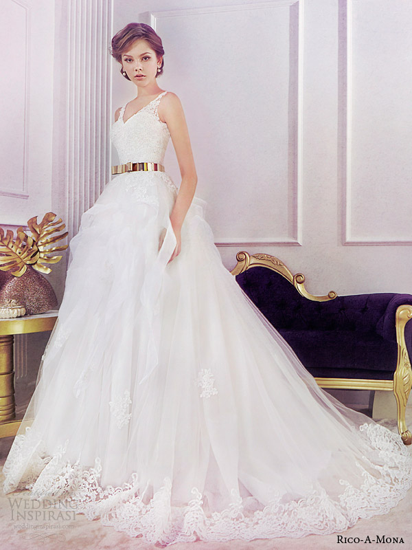 rico a mona 2014 bridal sleeveless ball gown wedding dress