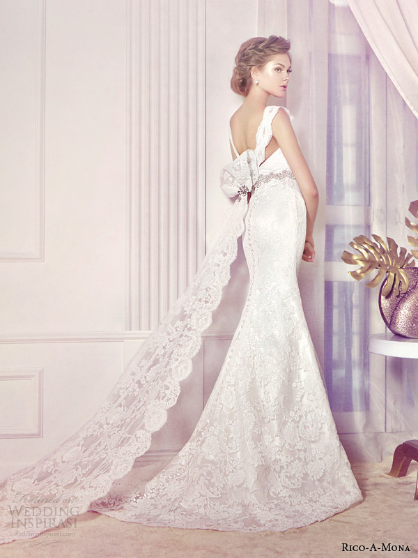 rico a mona bridal 2014 lace wedding dress back view train