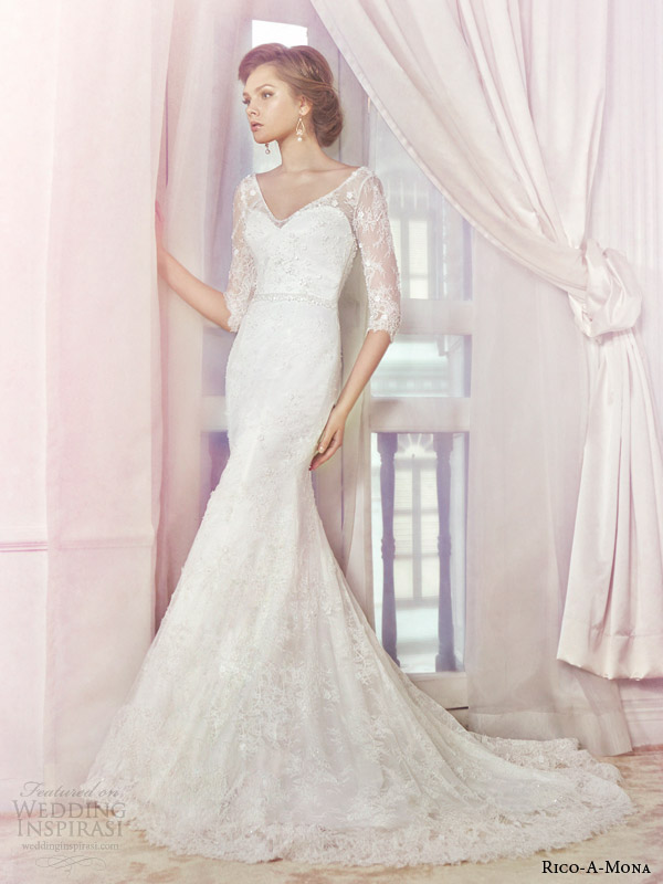 rico a mona bridal 2014 lace wedding dress with illusion sleeves