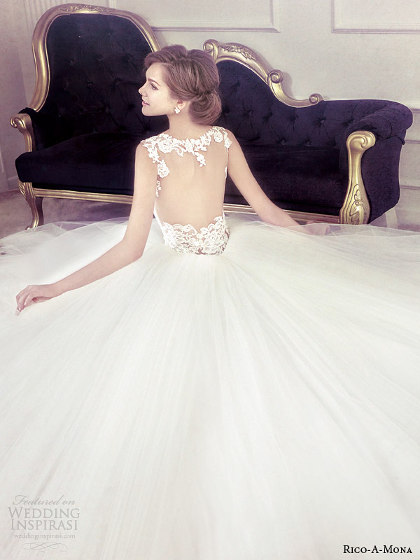 rico a mona wedding dress with beautifull illusion back