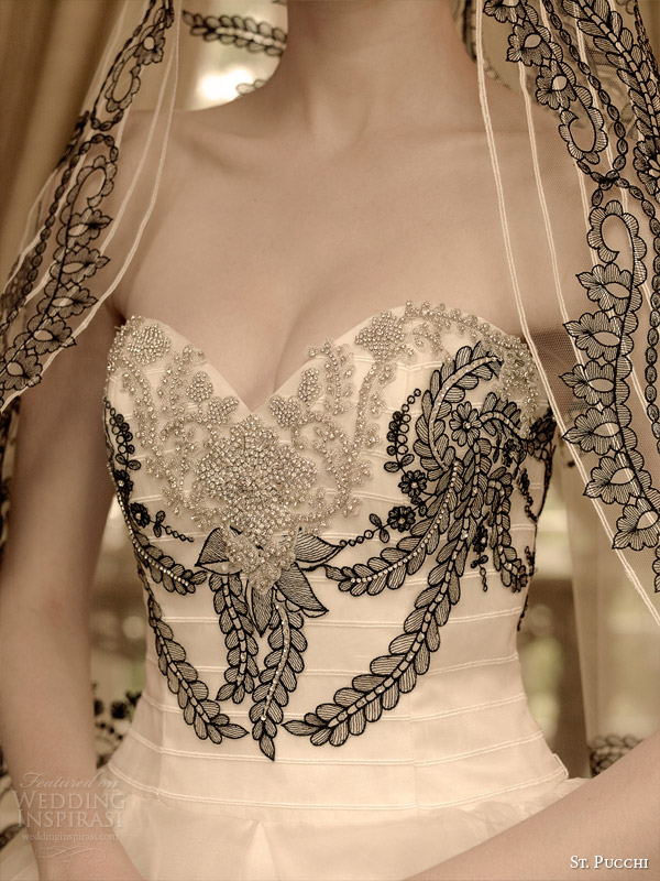 st pucchi 2014 2015 bridal gizelle strapless black and white ball gown wedding dress detail