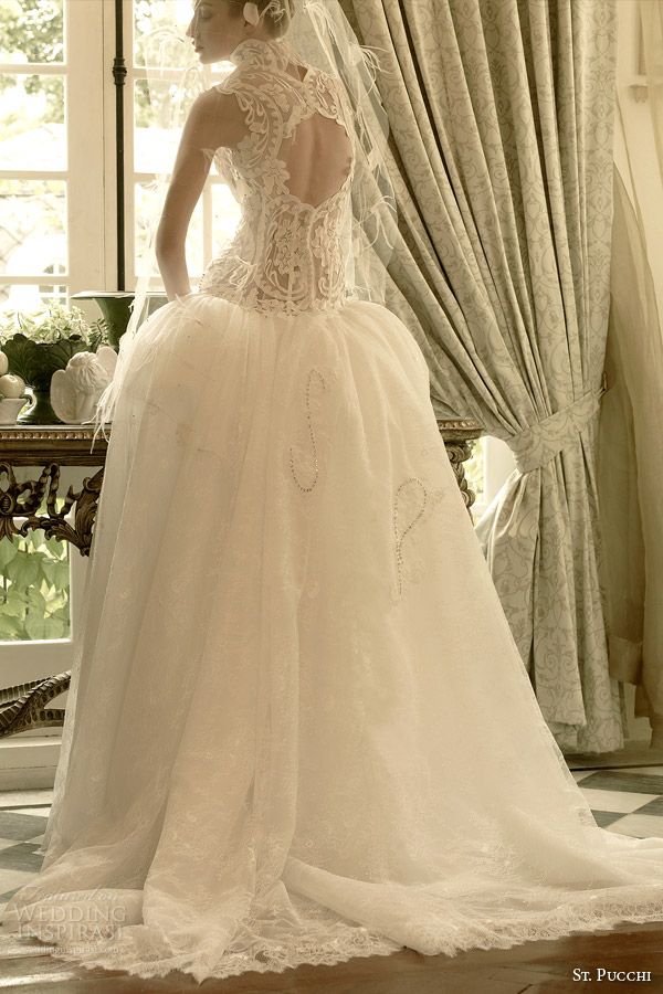 st pucchi 2014 2015 elle dropped waist ball gown wedding dress keyhole back