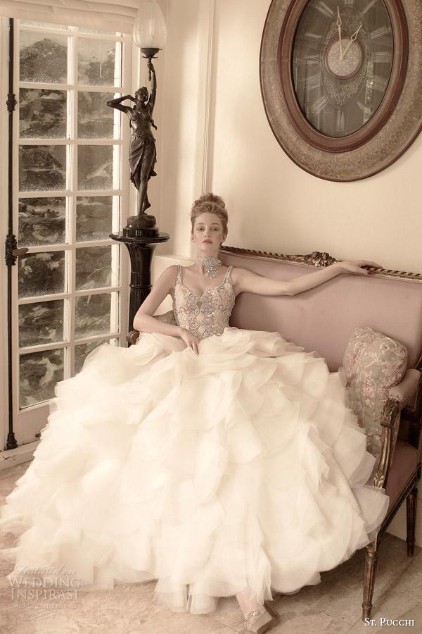 st pucchi bridal 2014 2015 allegra sleeveless wedding dress jeweled bodice straps