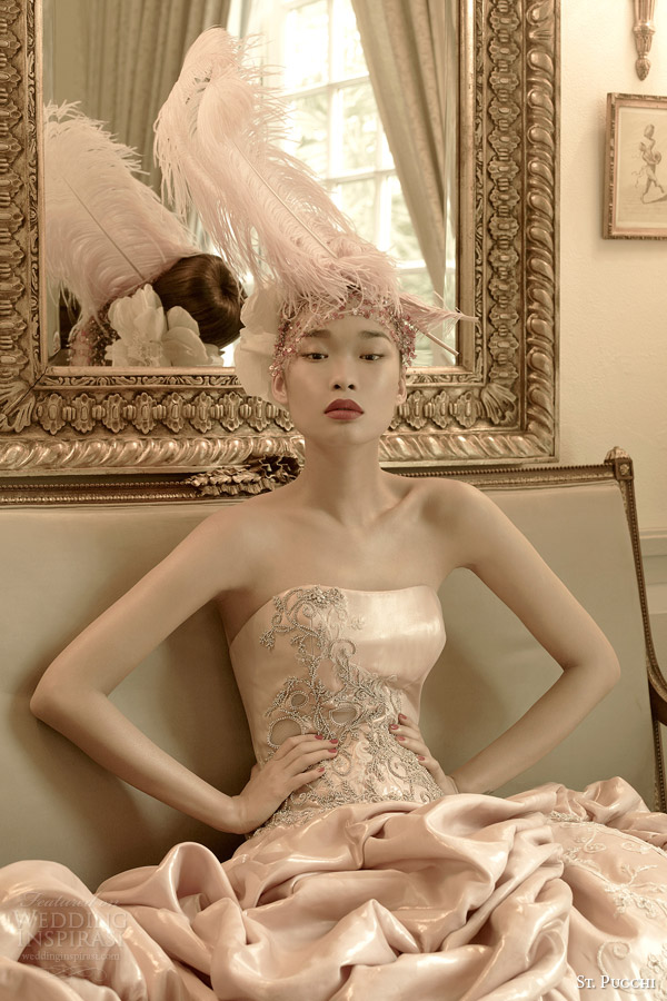 2014 2015 afrodite rosa vestido de noiva cor de noiva st Pucchi fechar-se