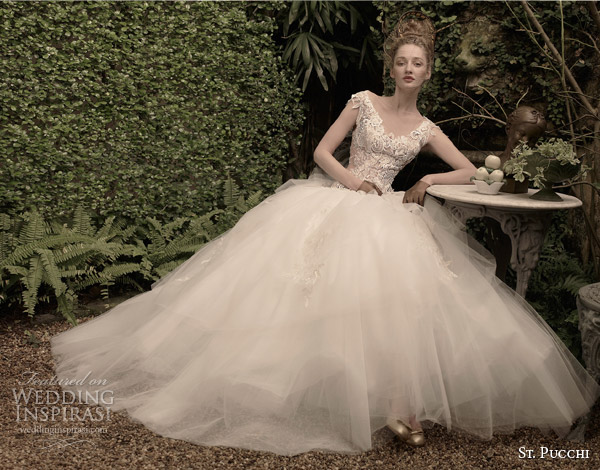 st pucchi bridal 2014 2015 lana cap sleeve ball gown wedding dress