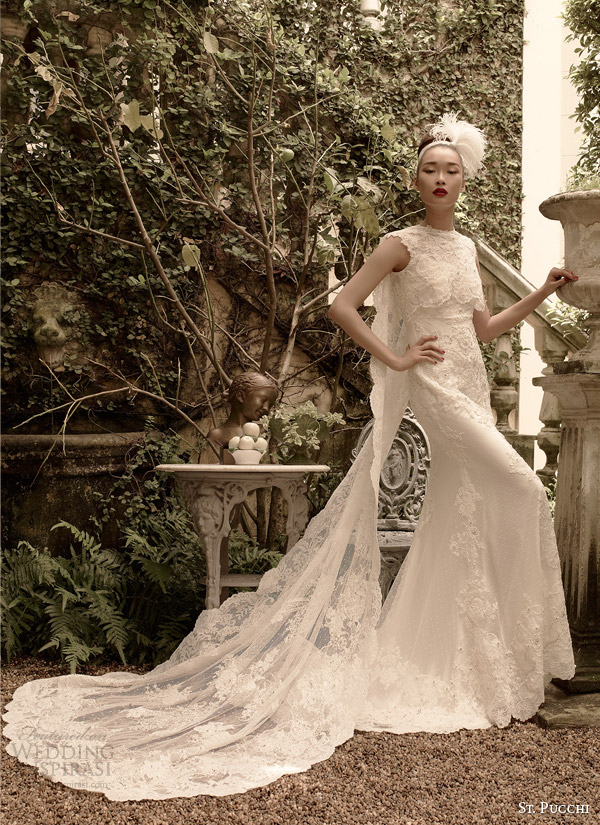 St pucchi 2014 2015 couture bridal collection for Wedding dress with cape train