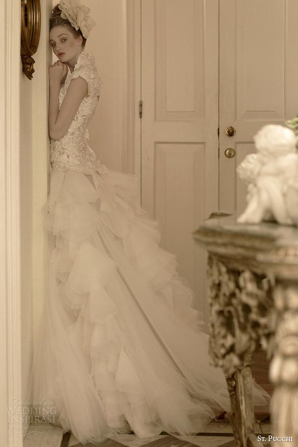 São Pucchi bridal 2014 2015 vestido de noiva vanessa saia em camadas manga cap corpete
