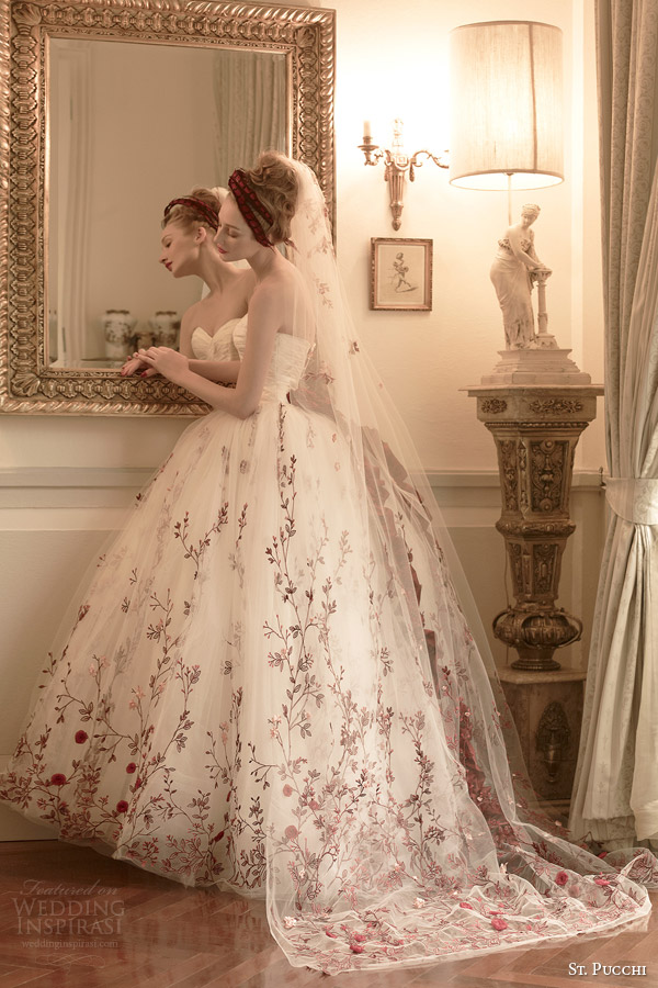 st pucchi colored wedding dress 2014 2015 scarlett strapless ball gown
