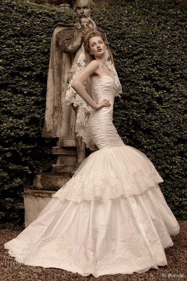 rua vestido de noiva Pucchi 2014 vestido strapless 2015 ariel sereia