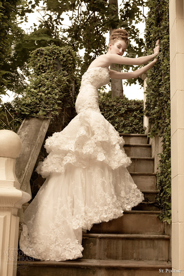 st pucchi wedding dress 2014 2015 fleur strapless mermaid gown tiered skirt