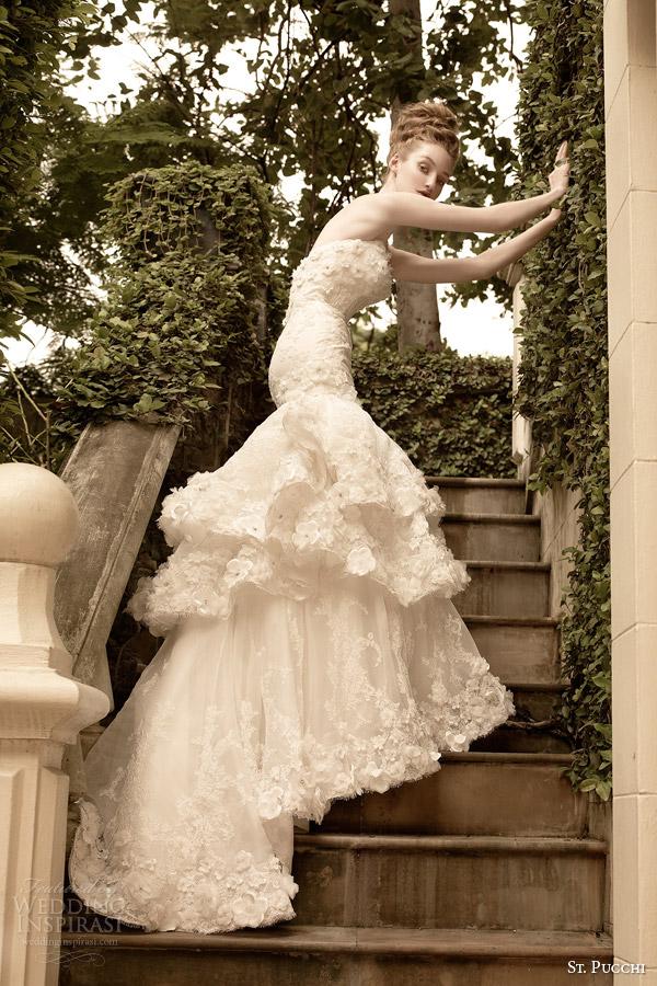 rua vestido de noiva Pucchi 2014 saia 2015 fleur vestido strapless sereia em camadas