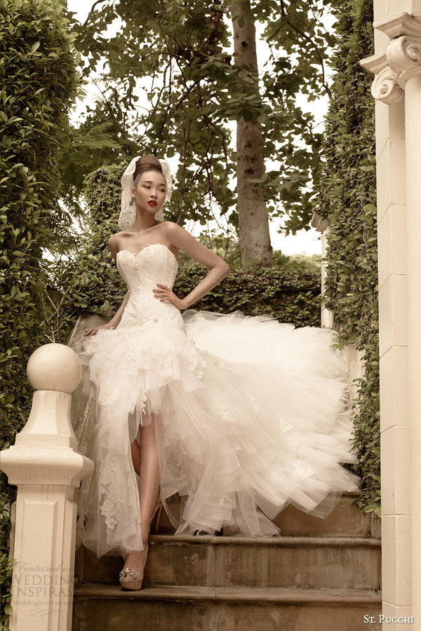 st pucchi wedding dresses 2014 2015 sereba strapless high to low mullet gown