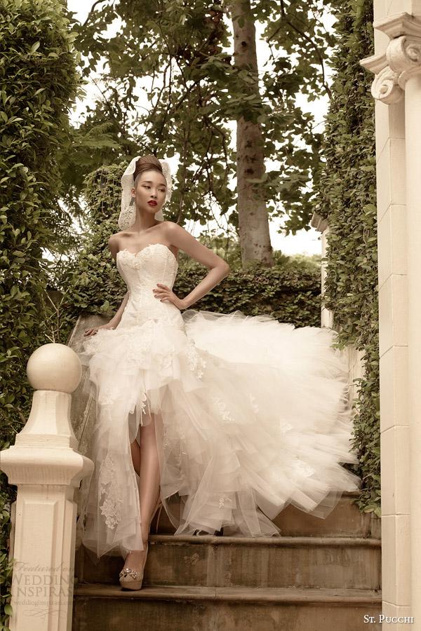 st vestidos de noiva Pucchi 2014 2015 sereba strapless alto a baixo vestido mullet